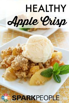 Lightened-Up Apple Crisp. The perfect healthy alternative to apple pie! | via @SparkPeople #dessert #Thanksgiving