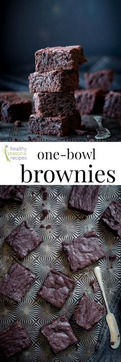 """Fudgy one bowl brownies - Healthy Seasonal Recipes: 2.5/3*, these are pretty good even afterover-baking them. (Thought the timer was set and it wasn't!), cut the recipe in half and added a tablespoon of peanut butter chips, used a 9""""x5"""" loaf pan but try mini loaf pans next time because they sunk in the middle. After cooling, lacks chocolate flavor. Made 4/1/17"""