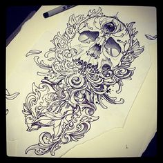 Pen sketch for new t shirt design should have em' in two weeks or so Sharpie Tattoos, Sharpie Drawings, Sharpie Art, Art Drawings, Sharpies, Skull Tattoos, Future Tattoos, Love Tattoos, Tatoos