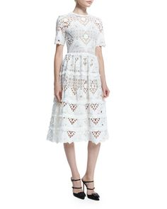benati crochet shortsleeve midi dress white