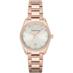Classic Watch Effortlessly sleek and contemporary, this ladies' Emporio Armani watch combines a rose gold-tone case and bracelet with a silver sunray dial and index stones for a chic, versatile look. Emporio Armani, Giorgio Armani, Gold Plated Bracelets, Metal Bracelets, Armani Watches, Stainless Steel Bracelet, Fashion Watches, Gold Watch, Schmuck