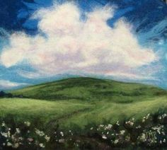 Felted Artwork-Original felted landscapes by Tracey McCracken Palmer. Wet felting and needle felting techniques are used to create beautiful works of art. Wool Needle Felting, Needle Felting Tutorials, Wet Felting, Felted Wool Crafts, Felt Crafts, Diy Crafts, Felt Wall Hanging, Fuzzy Felt, Wool Applique Patterns