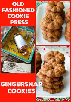 Old Fashioned Cookie Press Gingersnap Cookies from @kitchenmagpie
