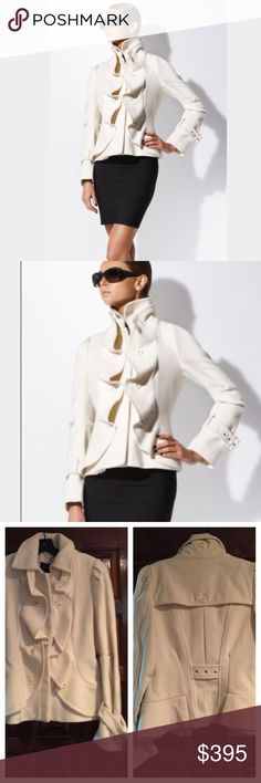 BCBGMaxAzria coat -NWT- size small BCBGMaxAzria wool coat - NWT- size small. Gorgeous ruffle detail. Zip-front closure with top hook and eye. Lined. Color is whisper, a versatile cream. Stunning!! BCBGMaxAzria Jackets & Coats