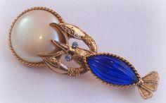 Ornate Lobster Pin Brooch Rhinestone Art Glass Faux Pearl Royal Blue 1928 Brand $17.99