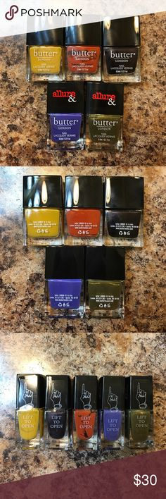 Butter London Polishes 🆕, still sealed and never used. Butter London nail polishes from the Brick Lane collection and Arm Candy set, 5 polishes total. Each polish is 0.2 oz. Worth $10 each, with a total value of $50.  ✓ NO Trades / Merc / PP / etc. ✓ Offers welcome ✓ Bundle discounts available ✓ Top 10% seller ✓ Most orders shipped within two days - never longer than five days Butter London Makeup Brushes & Tools