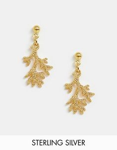 5c5491845 ASOS DESIGN Sterling silver with gold plate earrings with coral drop | ASOS  Gold Plated Earrings