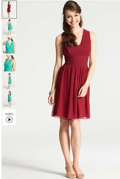 "Silk Georgette Pleat Tank Dress - <p>Supremely feminine and flowy, pretty pleats and a strappy V-back add allure to this sensational silk style. V-neck. Sleeveless. Hidden side zipper. Lined. 23"" from natural waist. </p> $129 cranberry   http://www.anntaylor.com/silk-georgette-pleat-tank-dress/304325"
