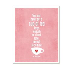 A Cup of Tea and a Long Book  CS Lewis  by hairbrainedschemes, $15.00