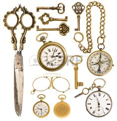 collection of golden vintage accessories. antique keys, clock, scissors, compass, glasses isolated on white background