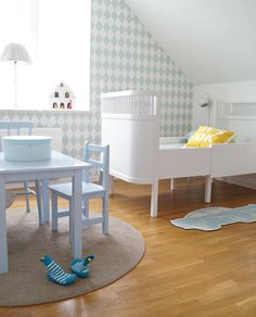 Shades of blue, clean and lovely. #kids #decor
