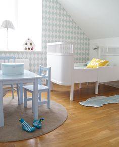 Välkomna in i vår son Charlies nya rum! Han har ju fått flytta från det här lilla rummet till ett större! Färgerna går nu i grönt, turkost, mint och blått med lite energiklickar av gult! Tips! Att...