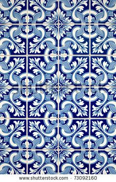 Azulejos : Blue tiles detail of Portuguese glazed. Mosaic Patterns, Pattern Art, Stair Stickers, Painting Tile Floors, Blue Poster, Tiles Texture, Portuguese Tiles, Blue Tiles, Brick And Stone