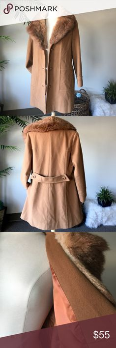 "Vintage 70s 80s Mod Faux Fur Peacoat This gorgeous wool coat with soft Faux fur collar is in overall great condition. some minimal fading on sleeves as shown in photos. measurements: chest laid flat 21"" Length 34"" sleeve from pit 16"" Vintage Jackets & Coats Pea Coats"