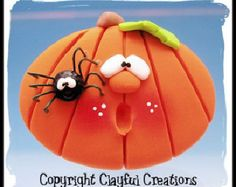 Becky's Polymer Clay - Pumpkin with Spider MAGNET