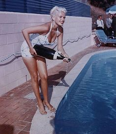 Jayne Mansfield filled the swimming pool with champagne.