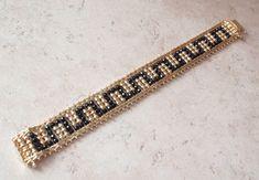 "Vermeil Chain Bracelet Black Gold Sterling Silver Greek Key Pattern 7 1/2"" Vinta #Chain"