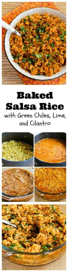 It took me several tries to perfect the method and ingredients for this Baked Salsa Rice with Green Chiles, Lime, and Cilantro, but it was worth it!  This rice is amazingly good!  This is a perfect side dish for any meal with Southwestern flavors.  [from KalynsKitchen.com]