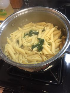 Spinach pasta with shrimp
