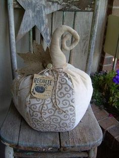 Primitive Folk Art LARGE Pumpkin Thanksgiving Fall or Halloween Decor