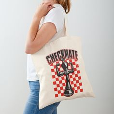 """Checkmate Black King Chess Player Grandmaster Winner Red"" Tote Bag by GrandeDuc 