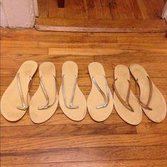 J. Crew flip flops lightly worn J. Crew flip flops bundle. Lightly worn in brown, silver and gold. J. Crew Shoes Sandals