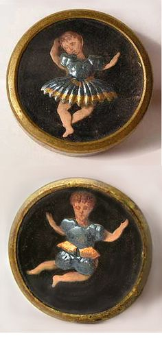 Rare 19th-century French buttons with tiny dancing figures. All parts move with the exception of the clothing, which is stationary. Click this link to see one dancing: http://boutonsweb.fr/collectionboutons/Poupee4.gif