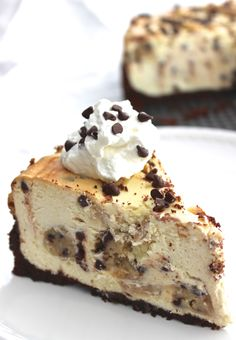 Chocolate Chip Cookie Dough Cheesecake- could it be any more decadent?! Perfect for special occasions.