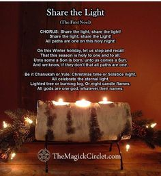 Winter Solstice:  Pagan #Yule Songs: Share the Light, for the #Winter #Solstice.