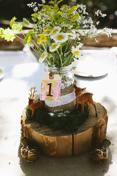 Woodsy Wedding Centerpieces / wood slice centerpieces / mason jar centerpieces with wildflowers / deer wedding Wedding Centerpieces Mason Jars, Wedding Venue Decorations, Flower Centerpieces, Deer Wedding, Woodsy Wedding, Wedding Ideas, Wedding Stuff, Wedding Planning, Wedding Inspiration