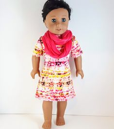 Pink Scarves, Ag Dolls, 18 Inch Doll, Doll Accessories, Pink Dress, Doll Clothes, Infinity, Short Sleeve Dresses, Etsy Shop