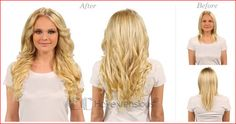 22 inch Strawberry Blonde clip in hair extensions before and after,you will find it is easy to add volume and length.