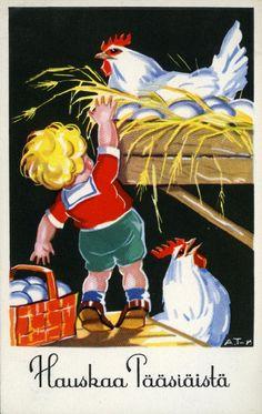 Hauskaa pääsiäistä #pääsiäinen #easter #kortit #cards #kanat #lapset #kananmunat #pesät Rooster, Animals, Animaux, Animales, Roosters, Animal, Dieren, Chicken