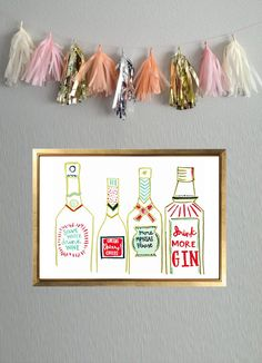save water drink wine.. cheers cheers! cheers.. more mimosas please.. drink more gin..  The Bar Cart Print, 9 x 12 Print of an Original Painting