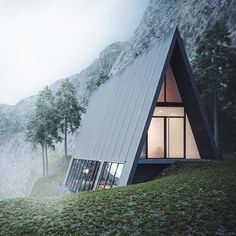 Triangle Cliff House (concept design) by Germany-based architect Matthias Arndt for the design challenge of Lichtect Architecture… A Frame Cabin, A Frame House, Triangle House, Triangle Building, Triangle Window, Small Cottage Homes, Cottage House, Design Exterior, Cliff House
