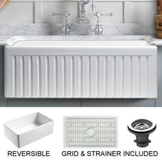Empire Industries Sutton Place Farmhouse Fireclay 24 in. Single Bowl Kitchen Sink with Grid with Grid and - The Home Depot Empire Industries Sutton Place Farmhouse Fireclay 24 in. Single Bowl Kitchen Sink with Grid with Grid and Strainer, Whit. Fireclay Farmhouse Sink, Fireclay Sink, Farmhouse Sink Kitchen, Farm Sink, Rustic Kitchen, Granite Kitchen Sinks, Rustic Farmhouse, Farmhouse Style, Nantucket