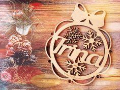 Glob personalizat din lemn fulgi Christmas, Xmas, Navidad, Noel, Natal, Kerst