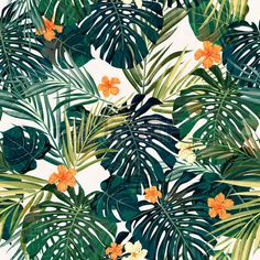 Illustration of Summer colorful hawaiian seamless pattern with tropical plants and hibiscus flowers, vector illustration vector art, clipart and stock vectors. Tropical Flowers, Motif Tropical, Tropical Pattern, Hibiscus Flowers, Tropical Leaves, Tropical Plants, Hawaii Flowers, Summer Plants, Tropical Design
