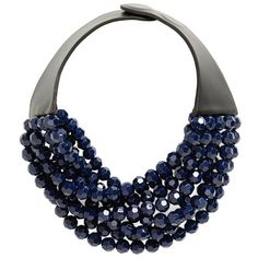 Women's Fairchild Baldwin Multirow Beaded Collar Necklace (6.135 ARS) ❤ liked on Polyvore featuring jewelry, necklaces, midnight navy, navy jewelry, collar necklace, multi strand necklace, navy necklace and navy blue necklace