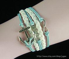 Anchor Bracelet Infinity  Bracelet Mint Green braided by JuGao, $4.90
