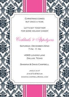 Tribecca Invitation Lovers Lane, Holiday Party Invitations, Throw A Party, Holiday Parties, Party Planning, Seasons, Christmas, Xmas, Seasons Of The Year