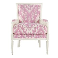 Hollywood Regency Louis XVI style armchair in Michelle Nussbaumer's Shocking Pink Chevron Ikat.