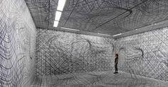 Vertigo-Inducing Room Illusions by Peter Kogler - Galerie im Taxispalais, Innsbruck, 2014. Photo by Atelier Kogler.