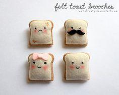Broches de tostadas con fieltro acolchado. ¡Celebra el #DíaMundialdelPan con…