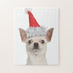 Christmas Chihuahua Jigsaw Puzzle   cute chihuahua, blue merle chihuahua, black and tan chihuahua #chihuahuasoginstagram #chihuahuapoodlemix #chihuahuasdailypost Chihuahua Clothes, Chihuahua Puppies, Dogs And Puppies, Animal Skulls, Christmas Toys, Chipboard, Poodle, Pink And Green, Cleaning Wipes