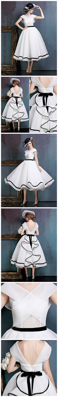 CHIC A-LINE OFF-THE-SHOULDER WHITE TULLE FLOUNCING MODEST TEA LENGTH PROM DRESS AM546 #fashion #style #long #prom #party #evening #beauty #chic #modest #love #bridal #promdress #promdresses #longpromdress #longpromdresses #eveningdress #tealengthpromdress #whitepromdress