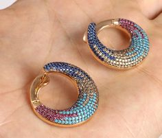 MIXED COLORS RUBY SAPPHIRE TURQUOISE .925 SOLID STERLING SILVER EARRINGS #67572 | eBay