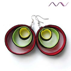 yellow lime green and red in black hoop felt earrings by MadameVu,  only posting for the color combo