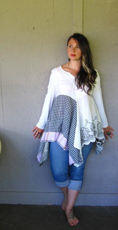Eco Patchwork Lagenlook tunic upcycled clothing Tattered urban dress Romantic funky Artsy dress Bohemian Tshirt dress Large-Xlarge