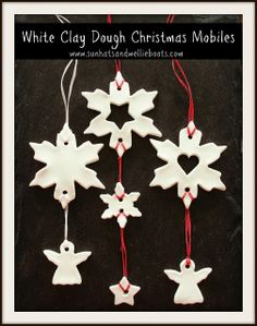 Sun Hats & Wellie Boots: Christmas Mobiles made with White Clay Dough